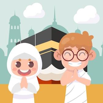 Celebración del hajj mabrour peregrinos islámicos