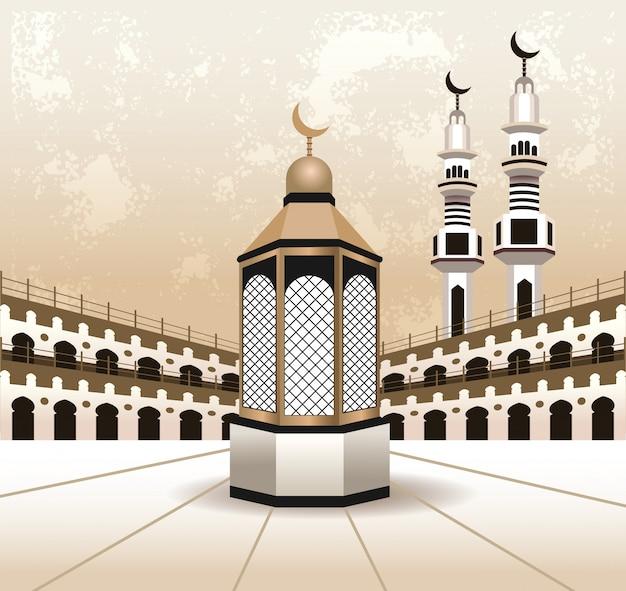 Celebración de hajj mabrur con diseño de ilustración de vector de escena de mezquita