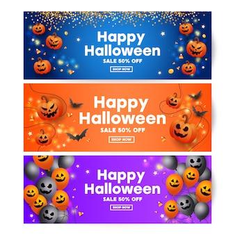 Celebración de halloween con cara de miedo de calabazas, murciélagos, dulces, decoración de confeti dorado globos negros