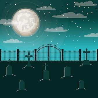 Celebración de halloween con escena de cementerio