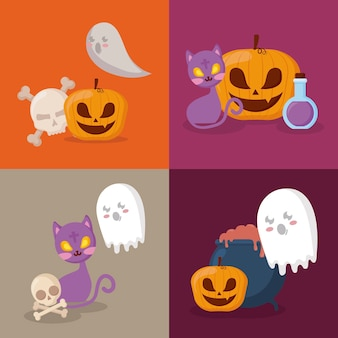 Celebración de halloween set iconos