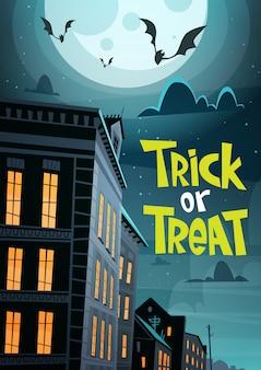 Celebración de halloween trick or treat, ilustración de la noche de la ciudad con murciélagos