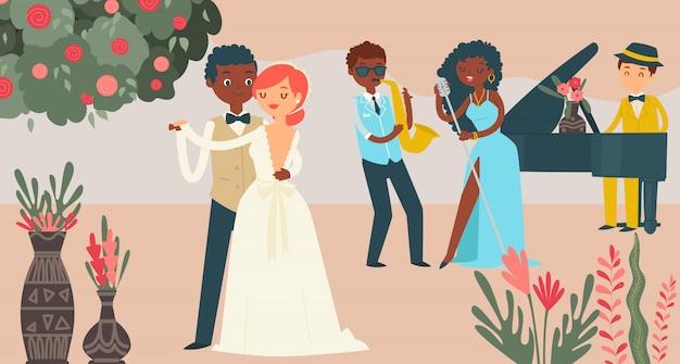 Celebración internacional de la boda de pareja, personaje masculino mujer casarse ilustración. grupo de música de jazz, fiesta de bodas.