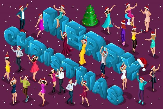 Celebración isométrica, hombres y mujeres se divierten en el contexto de las letras grandes