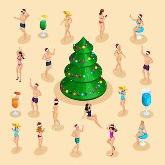 Celebración isométrica, hombres y mujeres en traje de baño se divierten en la celebración de navidad.