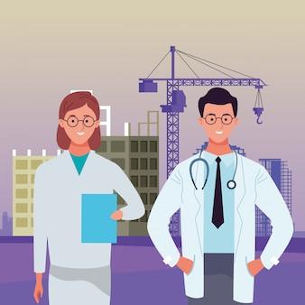 Celebración laboral nacional del día del trabajo, médicos colegas trabajadores frente a la construcción de la ciudad ver ilustración