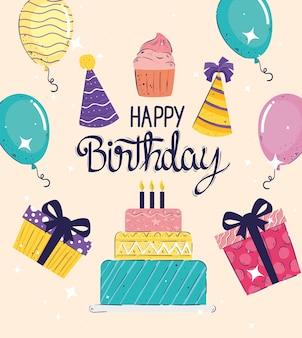 Celebración de letras de feliz cumpleaños con ilustración de iconos de conjunto