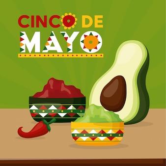 Celebración mexicana con aguacate y ají y comida