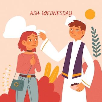 Celebración del miércoles de ceniza ilustrada