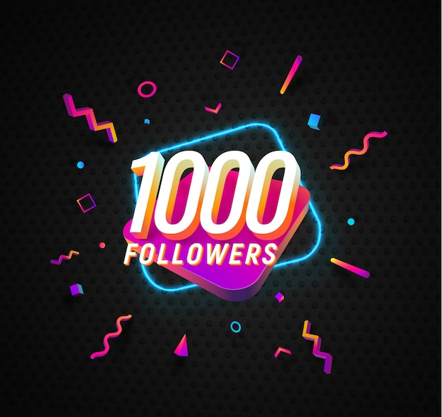 Celebración de mil seguidores en banner web de vector de redes sociales sobre fondo oscuro