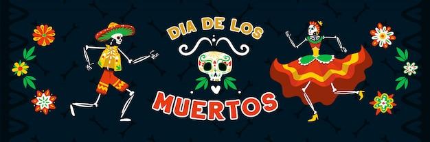 Celebración muerta del día mexicano con bailes en trajes nacionales esqueletos ilustración de vector de banner horizontal negro
