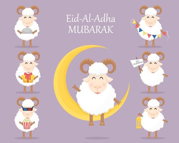 Celebración musulmana eid al adha mubarak con ovejas
