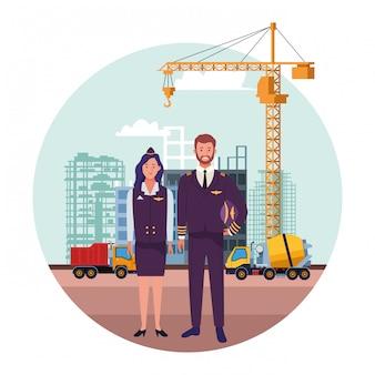Celebración nacional de la ocupación laboral del día del trabajo, azafata con trabajadores piloto en la construcción de la ciudad frente a ver ilustración