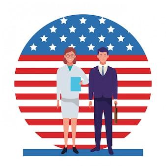 Celebración nacional de la ocupación laboral del día del trabajo, doctor mujer con trabajadores de hombre de negocios frente a la ilustración de la bandera de estados unidos estadounidense