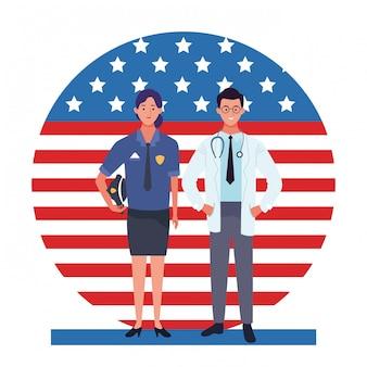 Celebración nacional de la ocupación laboral del día del trabajo, mujer policía con médicos trabajadores frente a la ilustración de la bandera de estados unidos estadounidense