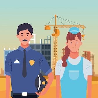 Celebración nacional de la ocupación laboral del día del trabajo, policía con constructor trabajadoras en frente de la construcción de la ciudad ver ilustración