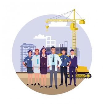 Celebración nacional de la ocupación laboral del día del trabajo, trabajadores profesionales en la construcción de la ciudad frente a ver ilustración