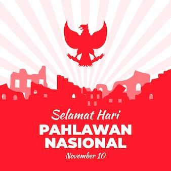 Celebración nasal pahlawan de diseño plano