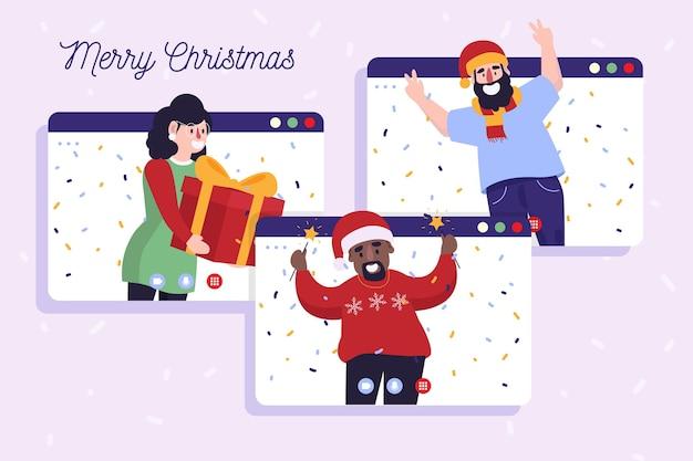 Celebración de navidad en línea debido a una pandemia