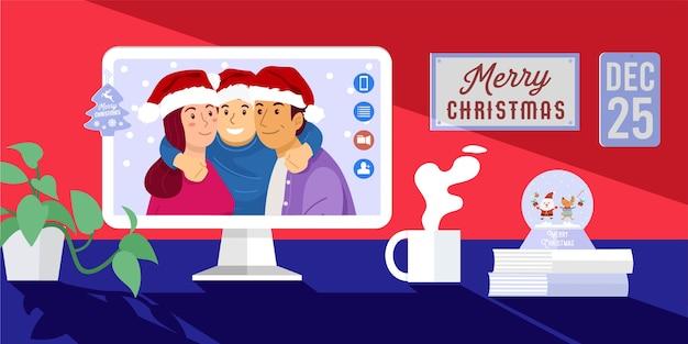 Celebración de navidad en línea, familia feliz en videollamada desde casa.