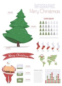 Celebración navideña de dibujos animados infografía