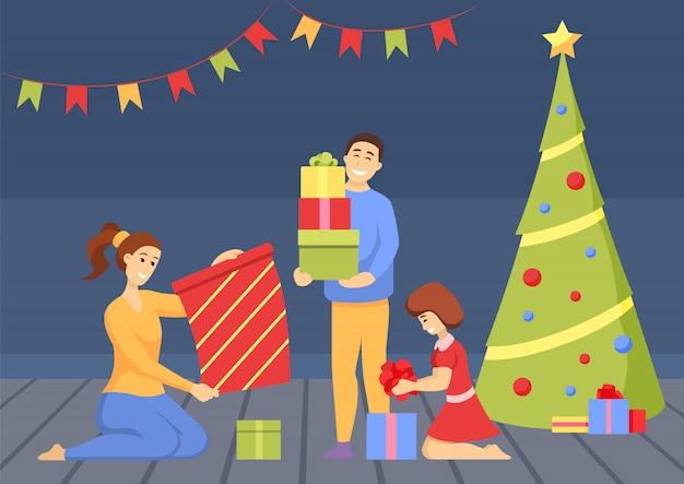 Celebración navideña gente con regalos de pine