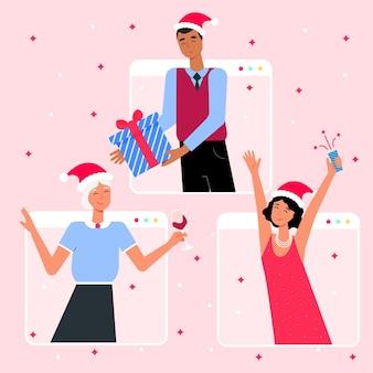 Celebración navideña en línea por epidemia