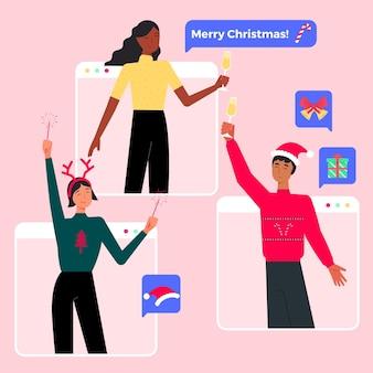 Celebración navideña online debido a una epidemia