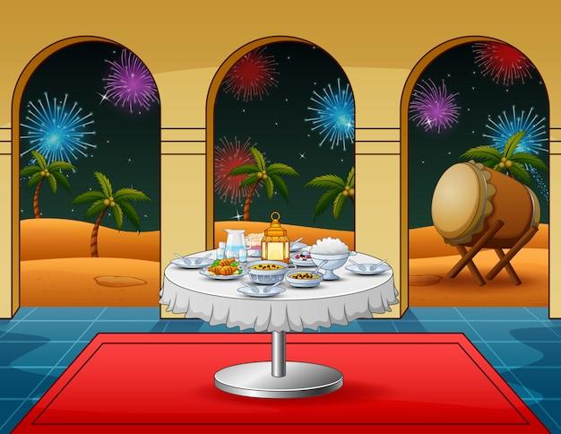 Celebración de la noche de takbir con platos de comida en la mezquita.