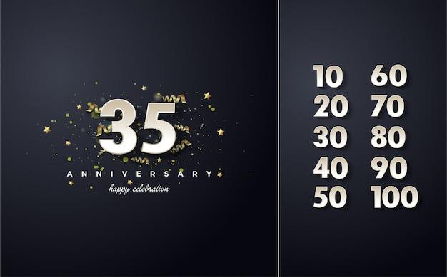 Celebración de números blancos con un efecto de sombra sobre un negro.