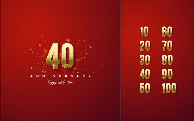 Celebración de números en oro de lujo.