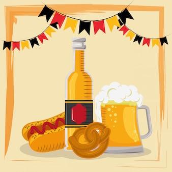 Celebración del oktoberfest con cerveza y hot dog