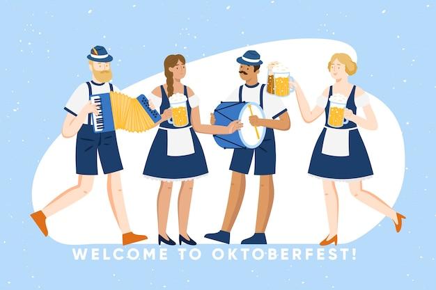 Celebración del oktoberfest personas divirtiéndose