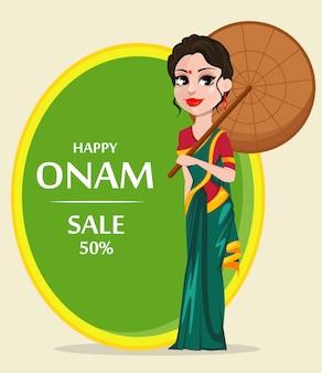 Celebración de onam. mujer india