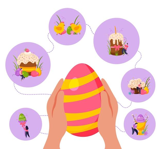 Celebración de pascua con huevos de colores, pastel y ramitas.