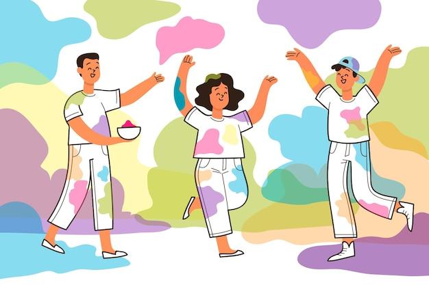 Celebración de personas festival holi vector gratuito