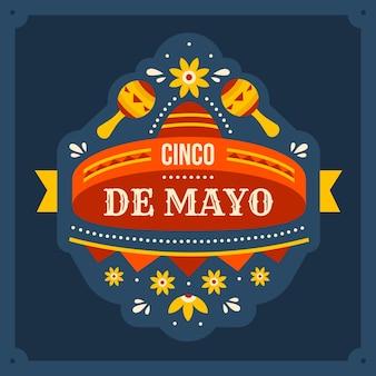 Celebración plana de cinco de mayo