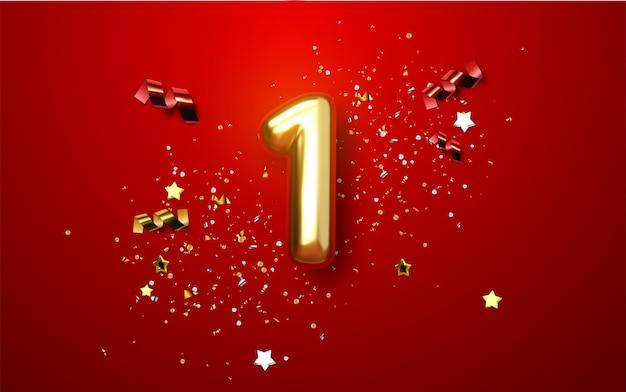 Celebración del primer aniversario. dorado número 1 con confeti brillante, estrellas, brillos y cintas serpentinas