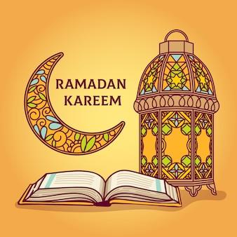 Celebración de ramadán dibujada a mano