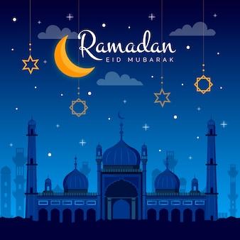 Celebración de ramadán de diseño plano