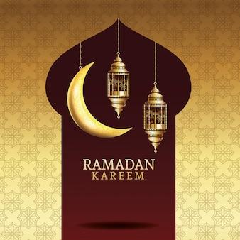 Celebración del ramadán kareem con faroles dorados colgando