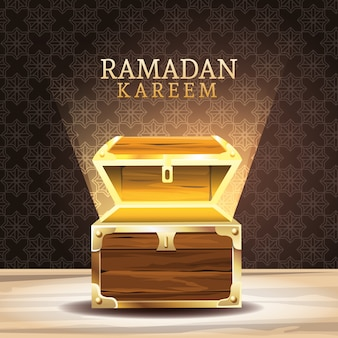 Celebración de ramadán kareem con ilustración de cofre