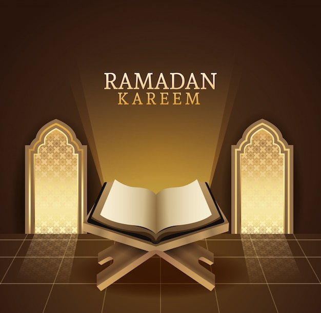Celebración de ramadán kareem con la ilustración del libro corán