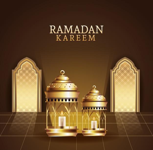 Celebración de ramadán kareem con ilustración de linternas