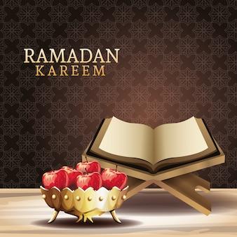 Celebración del ramadán kareem con el libro del corán