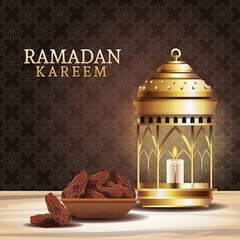 Celebración del ramadán kareem con linterna y plato de comida
