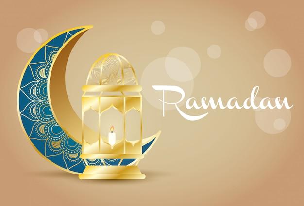 Celebración del ramadán kareem con luna y linterna