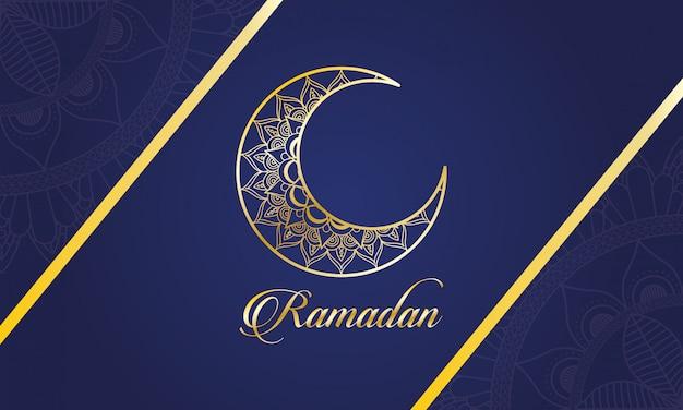 Celebración del ramadán kareem con luna
