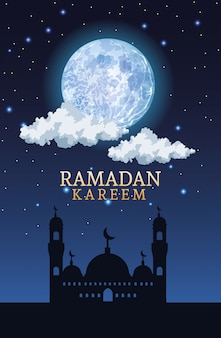 Celebración del ramadán kareem con taj mahal