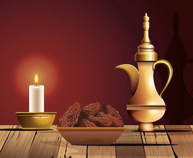 Celebración del ramadán kareem con tetera dorada y comida
